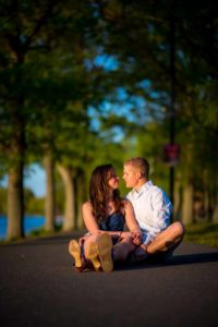 engagement photo sitting on the floor in boston