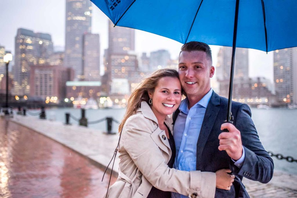 engagement photo in the rain at seaport