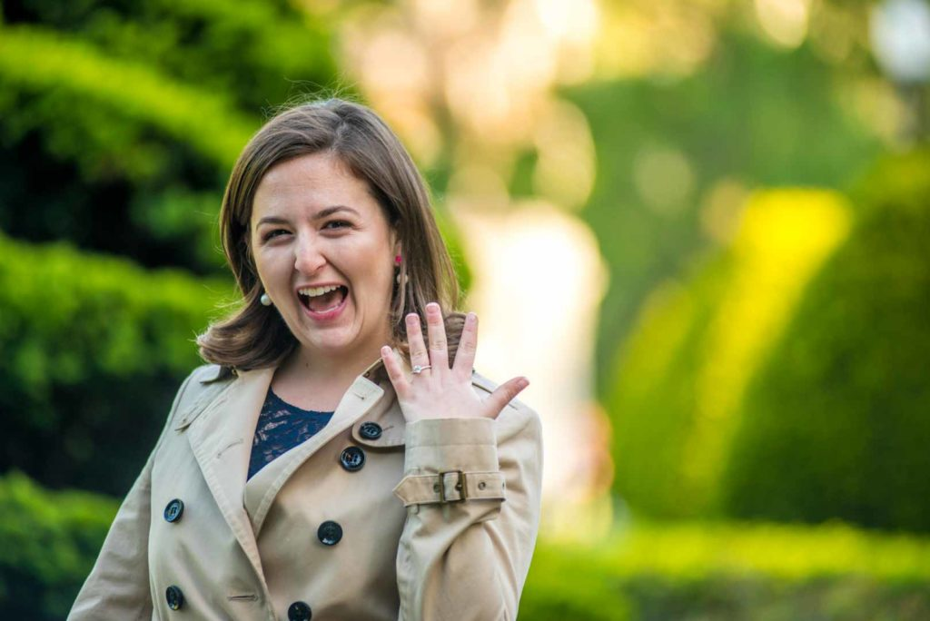 she is so happy that she is engaged