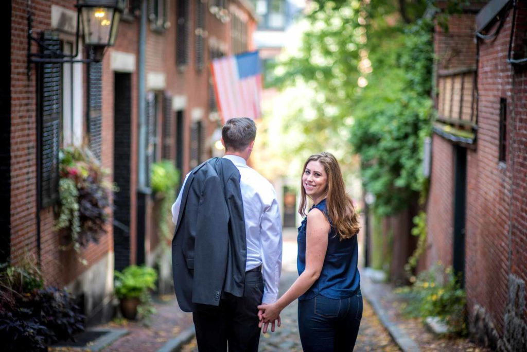 outdoor engagement photo taken at Acorn Street.
