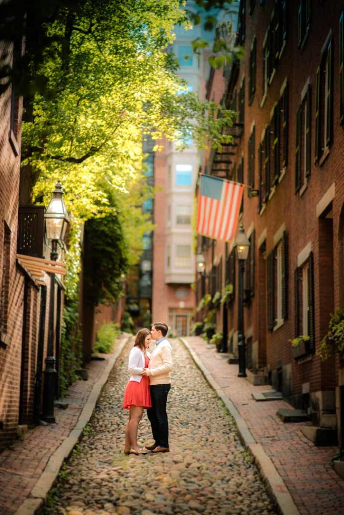 beautiful engagement photo taken at Acorn Street