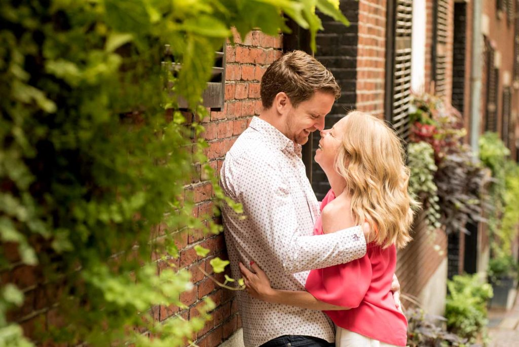 outdoor engagement photography at Acorn Street