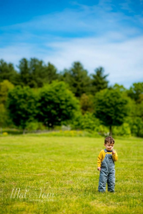 child photography in a field