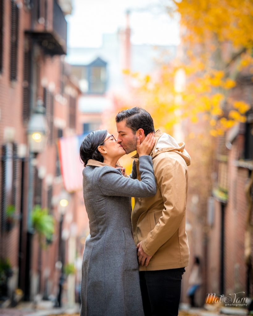 couple kissing after he proposed