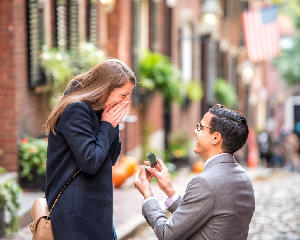 he is proposing to her at acorn street boston