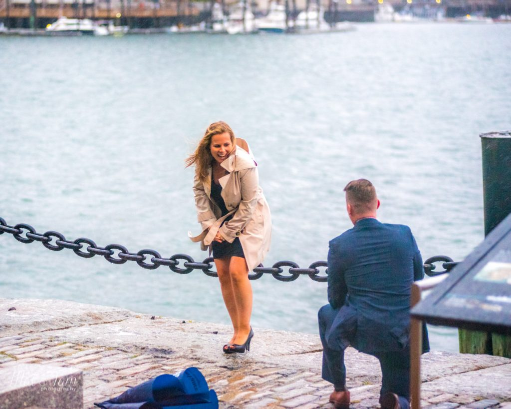 On a rainy day by the Boston Seaport, he asked her to marry him
